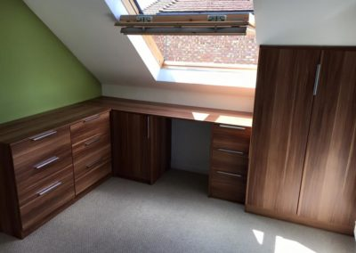 Bespoke desk and wardrobe fitted in attic The Sliding Wardrobe Company | Kent | Essex | East Sussex
