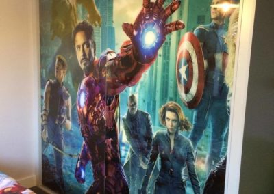 Avengers painted double wardrobe in children's bedroom The Sliding Wardrobe Company | Kent | Essex | East Sussex
