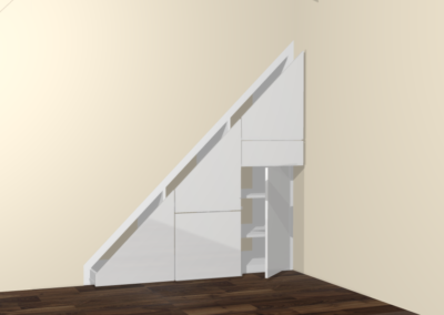 design of slanted under stairs cupboard storage The Sliding Wardrobe Company | Kent | Essex | East Sussex